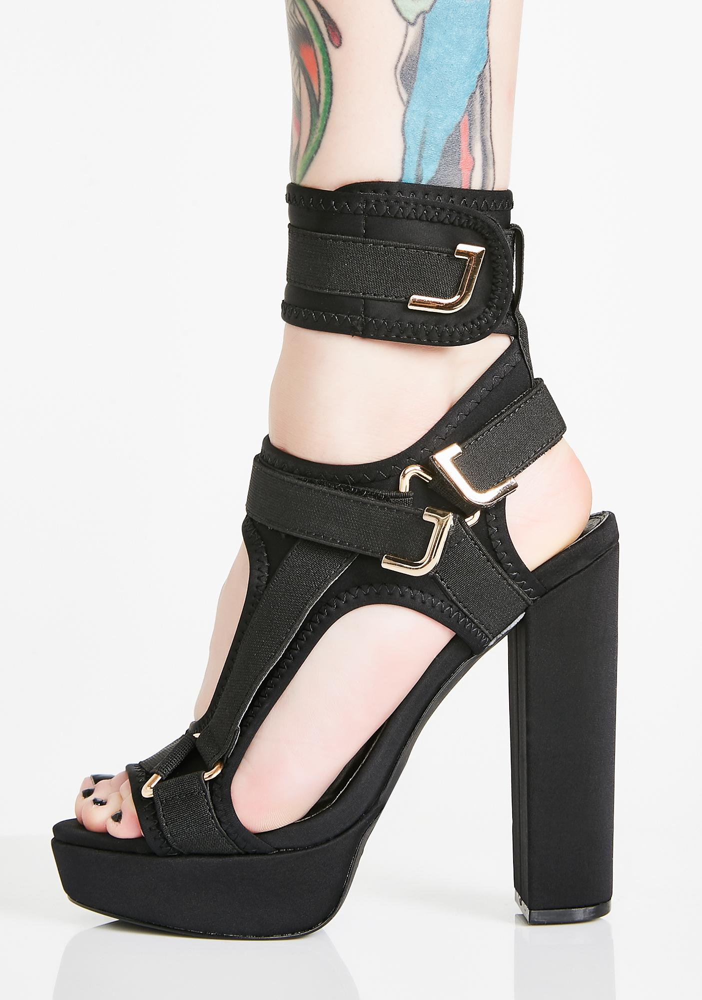 Dark Ready For Take Off Strappy Heels