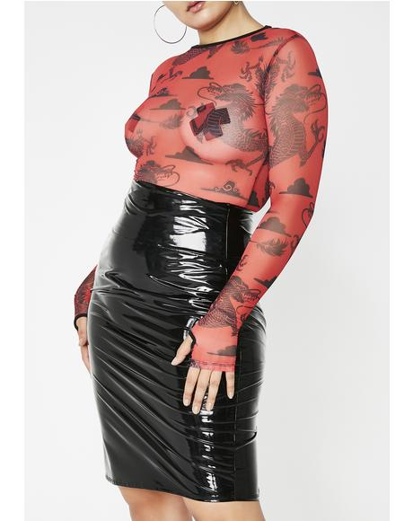 Wicked Never Loved Us PVC Pencil Skirt