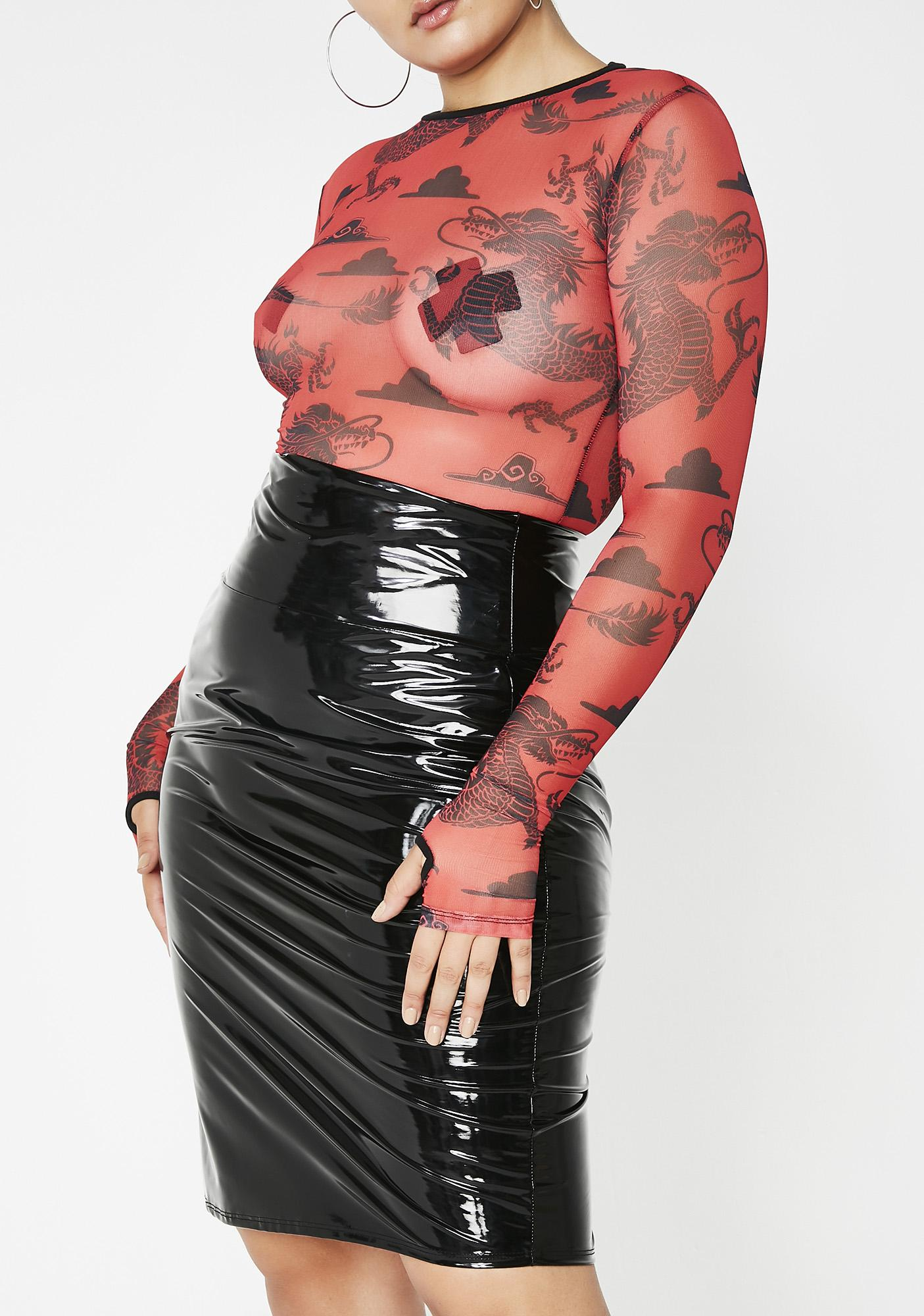 e3d4a72a1 Wicked Never Loved Us PVC Pencil Skirt