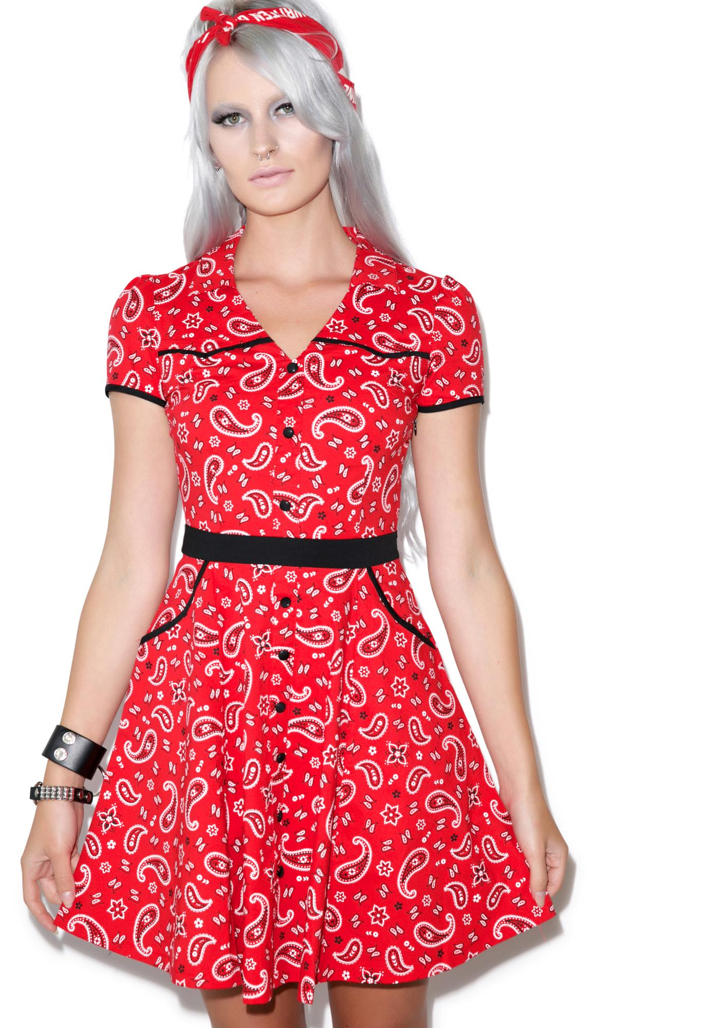 Sourpuss Clothing Hellbilly Red Bandana Print Dress  Dolls Kill