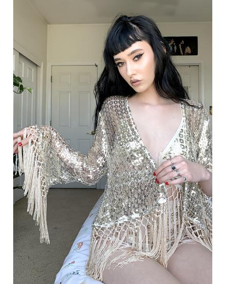 Gold Squares Riviera Sequin Jacket