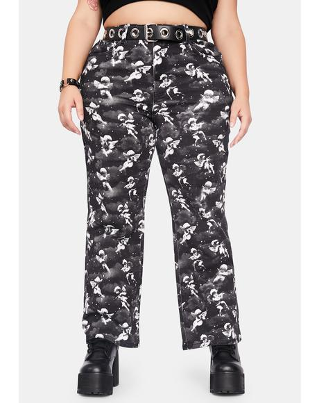 Her Unholy Spirit Printed Twill Jeans