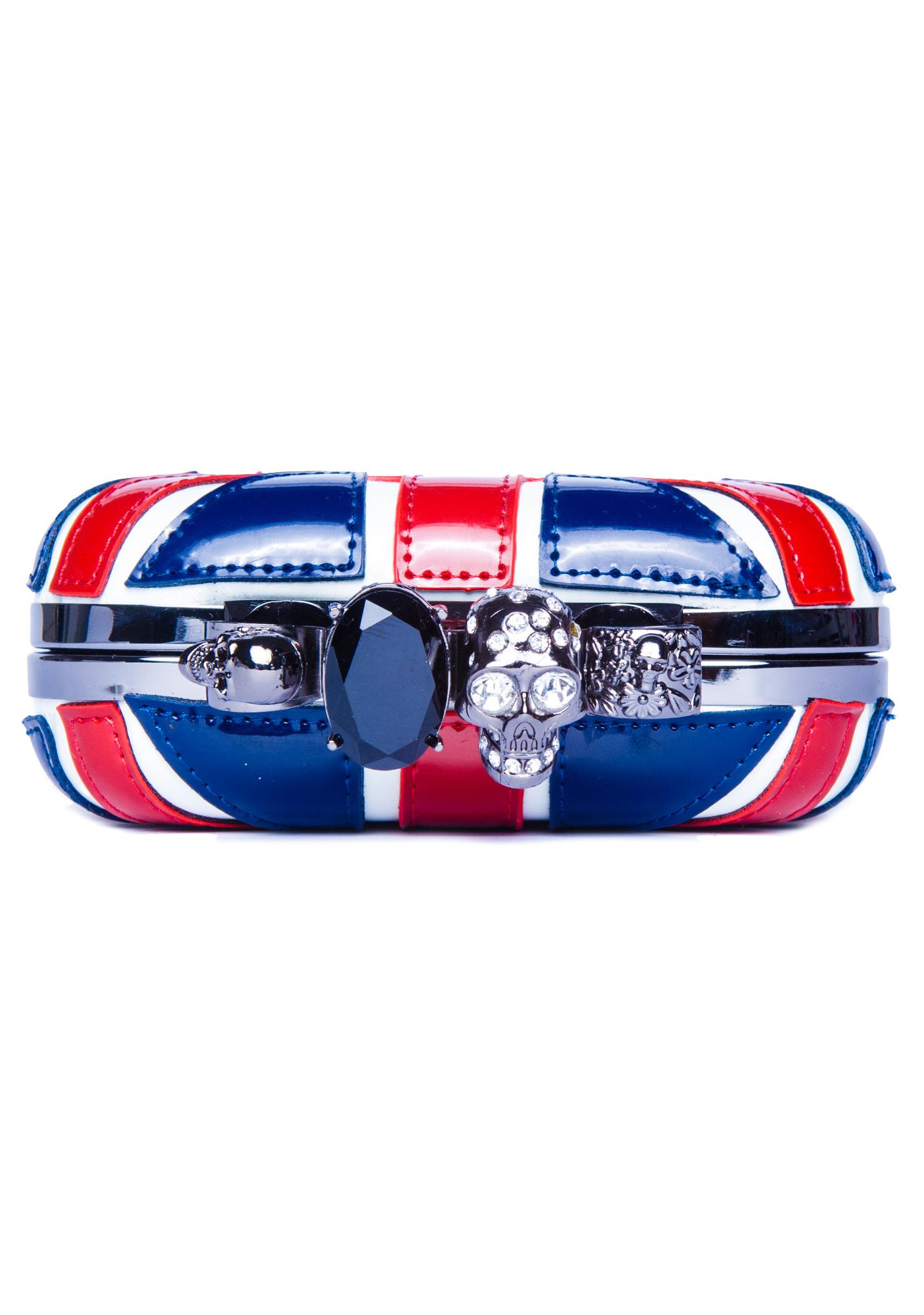 Union Flag Skull Head Clutch