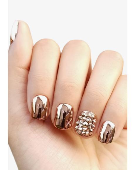 Rose Gold Accents Press On Nails