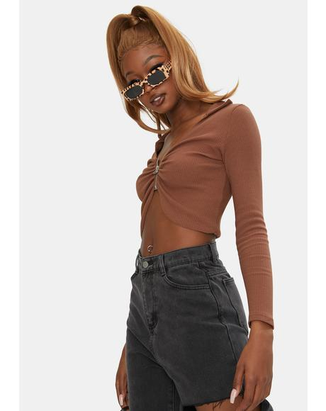 Brown Dasha Crop Top