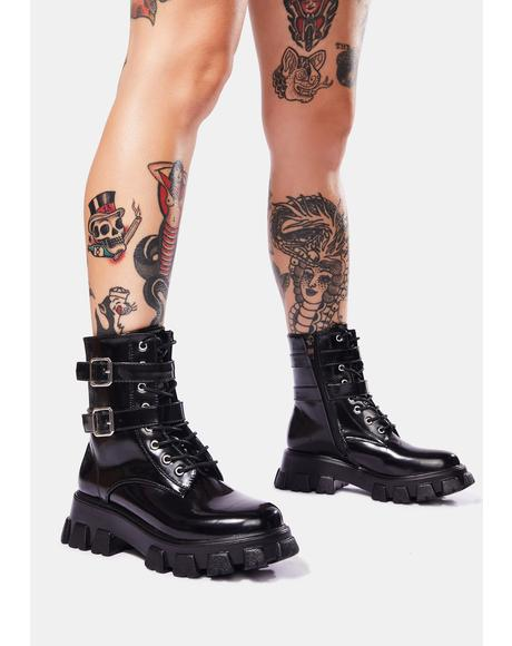 Taking Aim Buckle Combat Boots