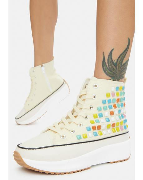 Cream Good Lookin' Studded Hi Top Sneakers