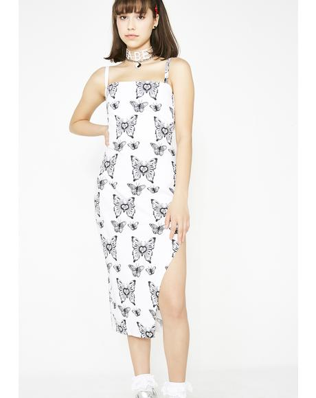 Butterfly Midi Split Dress