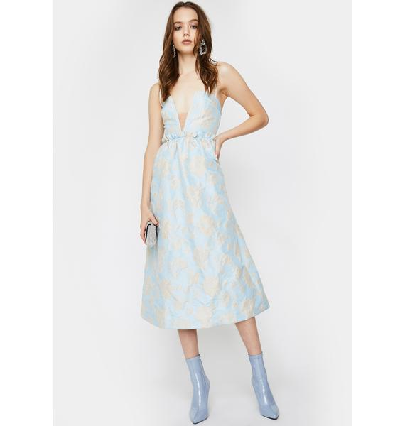 For Love & Lemons Reese Jacquard Midi Dress