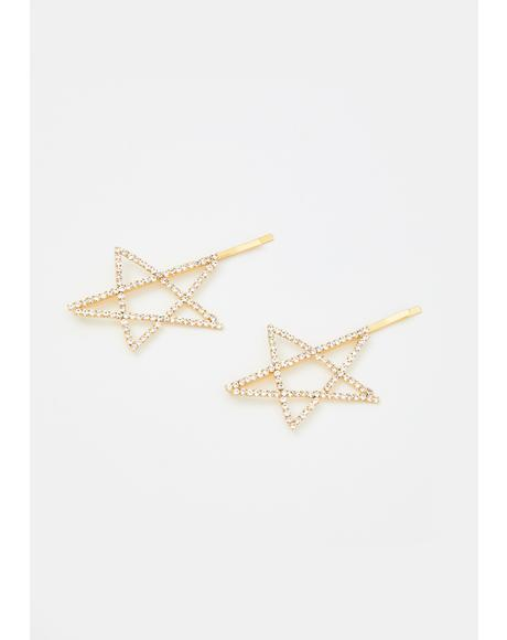 Shine Bright Rhinestone Star Hair Clips