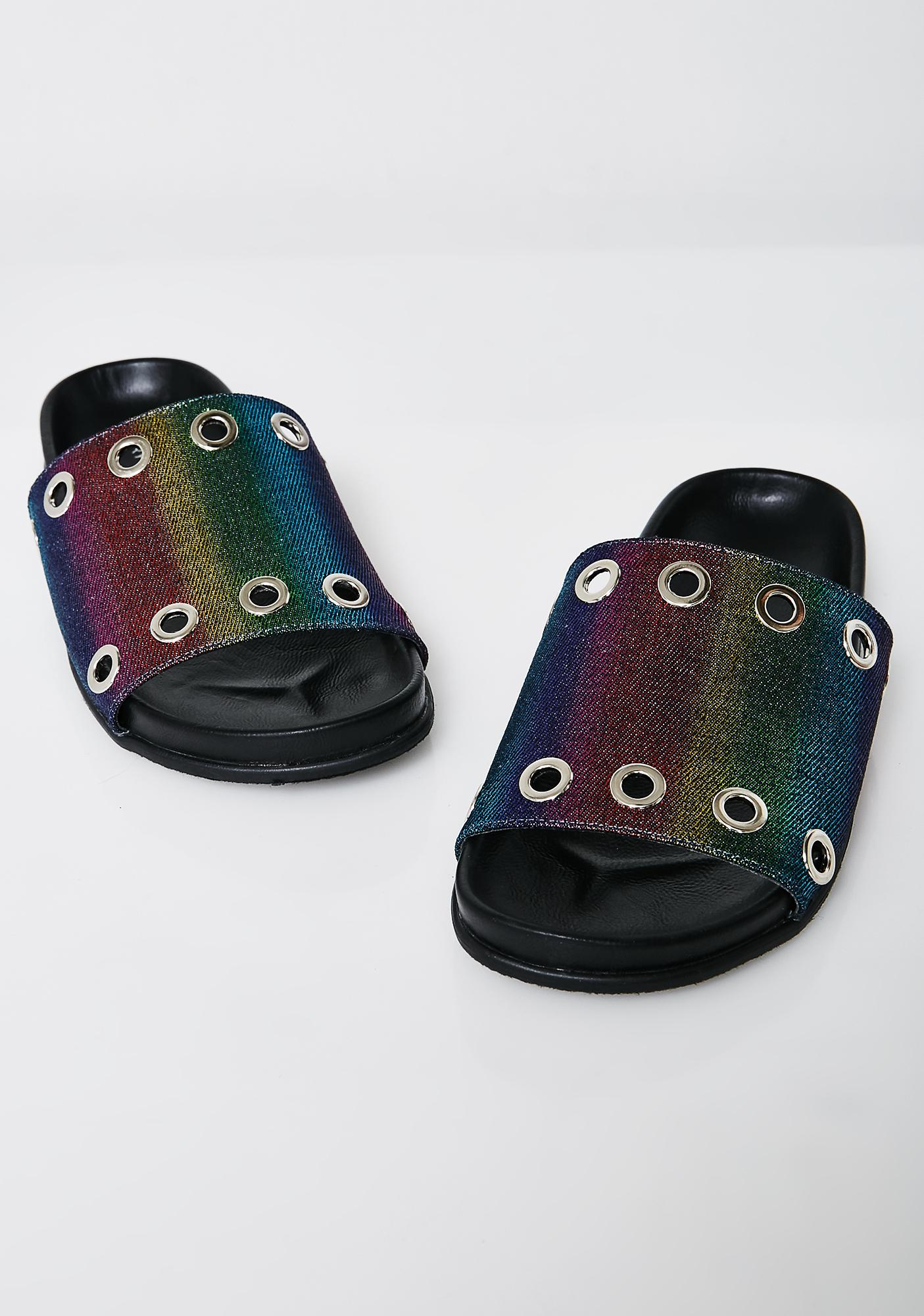 Volatile Shoes Rainbow Lenny Slides