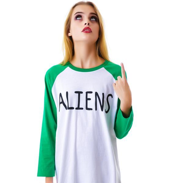 Lazy Oaf Aliens Baseball Tee