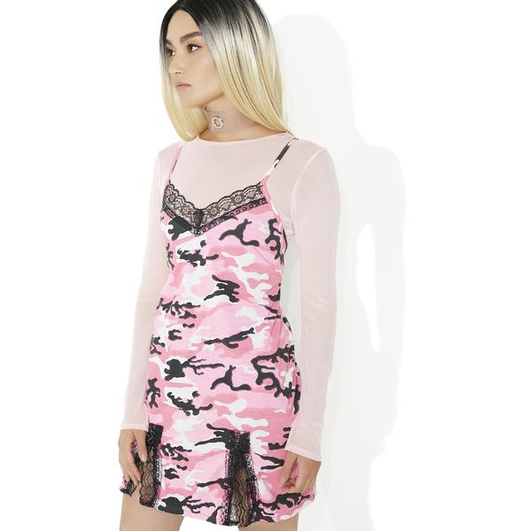 O Mighty Pink Camo Babydoll Dress