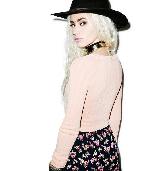 For Love & Lemons Knitz Tori Crop Sweater