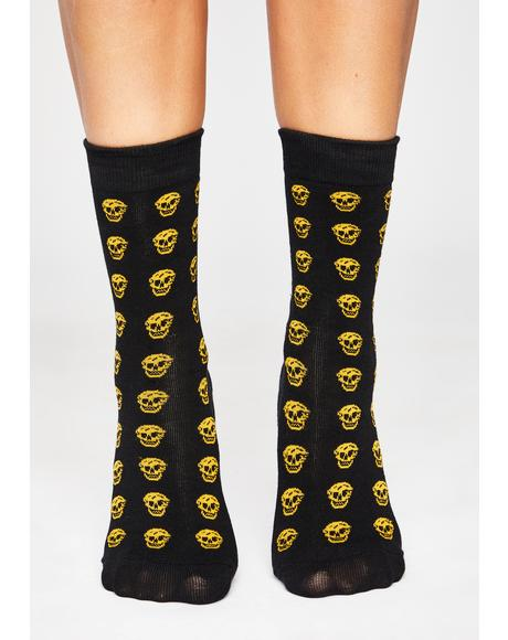 Electric Freak Face Skull Socks