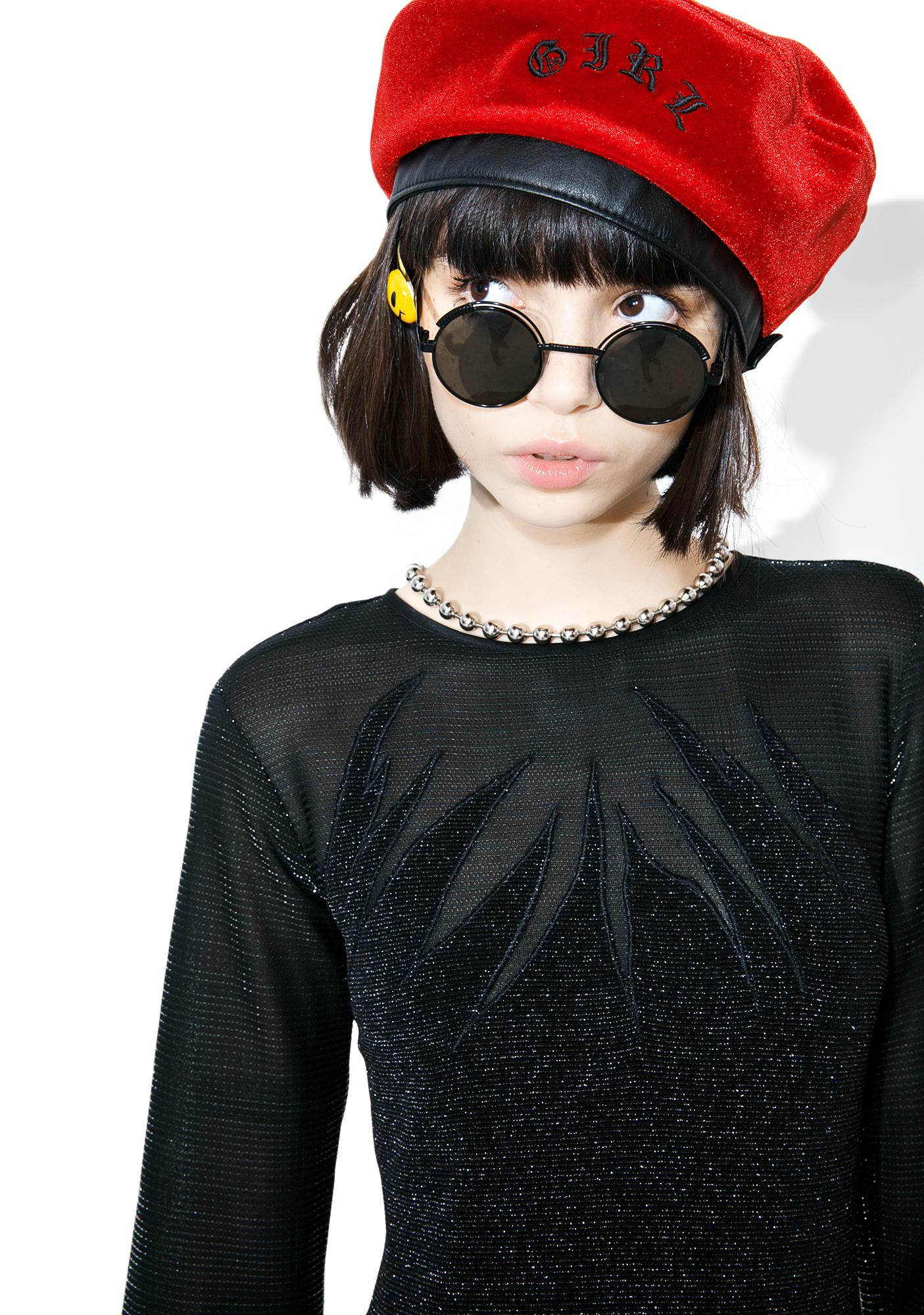 Vintage Black Flame Shimmer Dress
