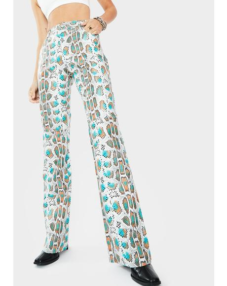 Ariella Snakeskin Print Pants