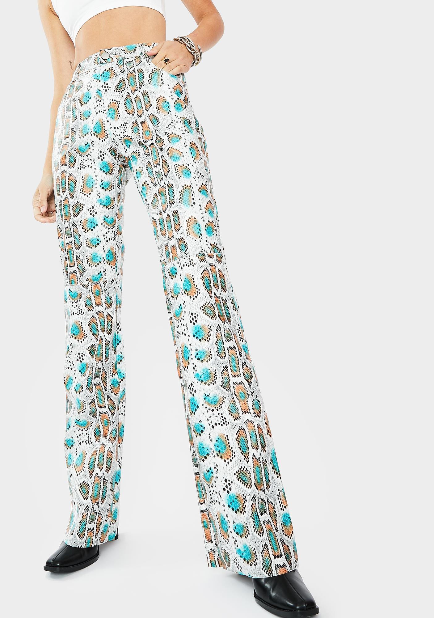 THE KRIPT Ariella Snakeskin Print Pants