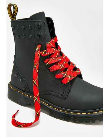 Red Plaid Shoe Laces
