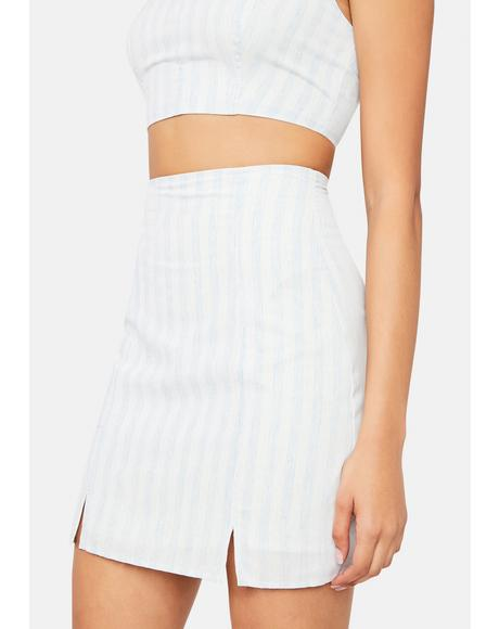 Can't You See Striped Denim Mini Skirt
