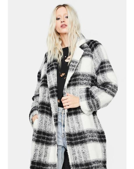 Top Of The Class Plaid Wool Coat