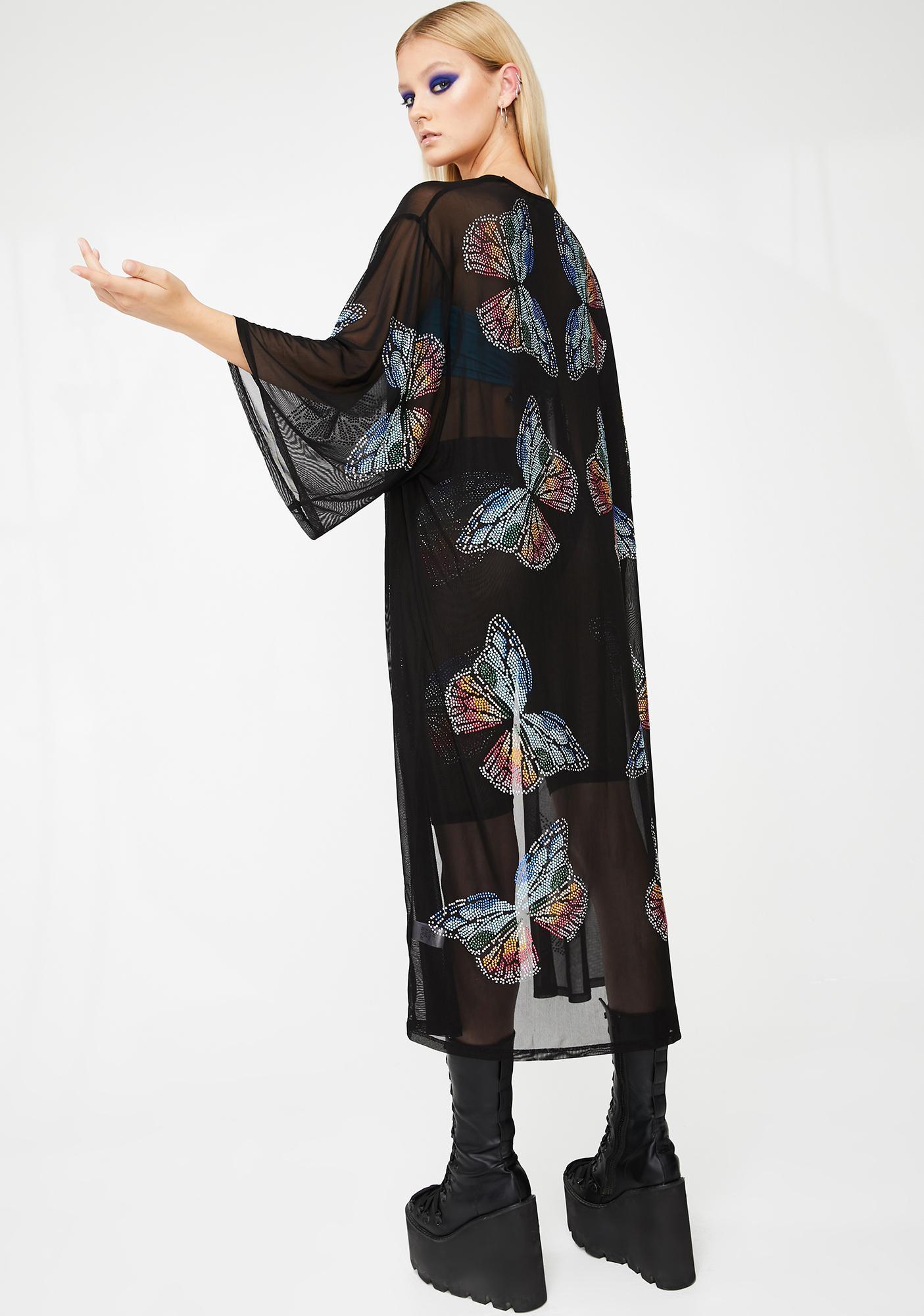 Club Exx Butterfly Matrix Sheer Kimono