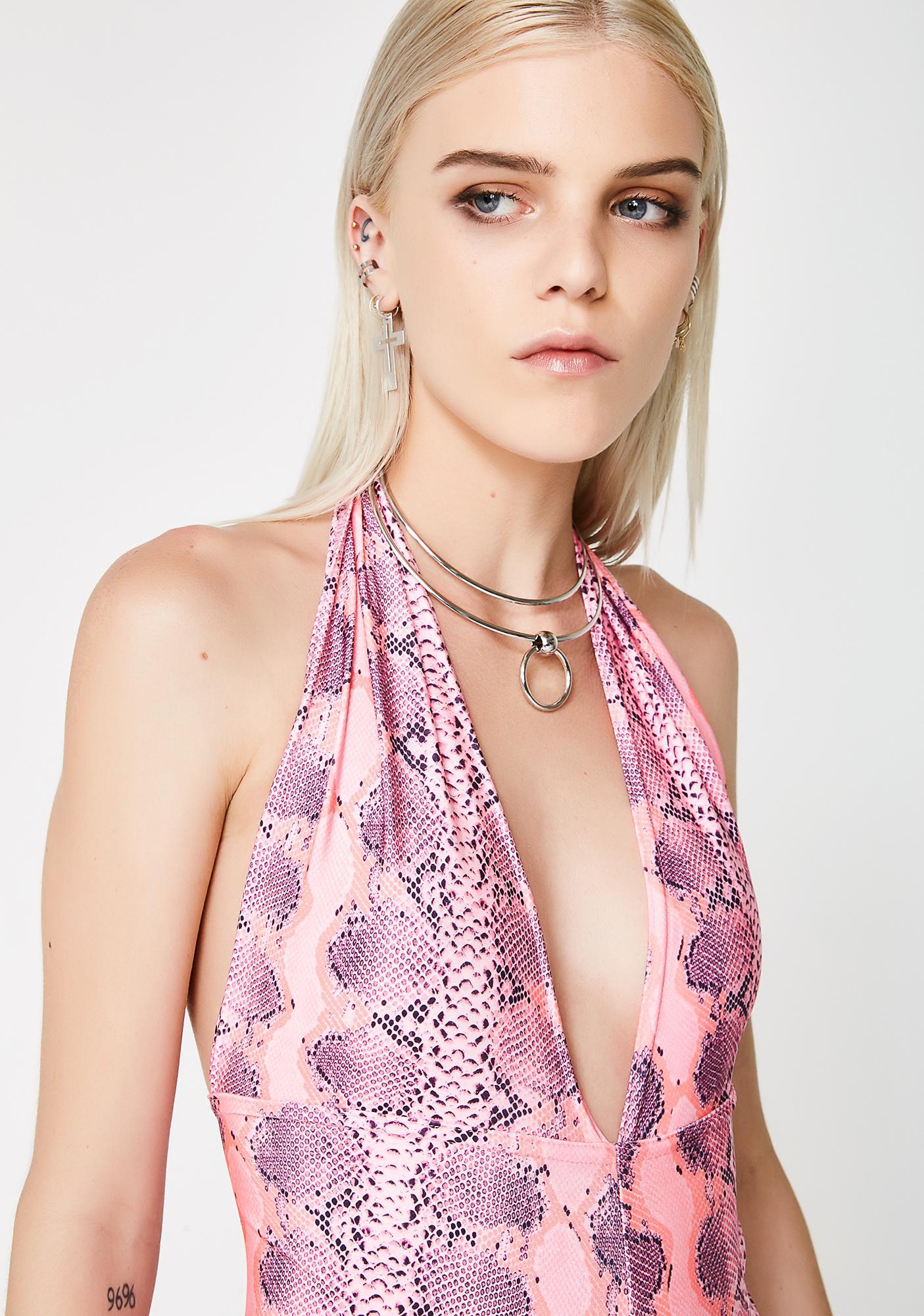 Soulan Zee Pink Snake Skin Romper