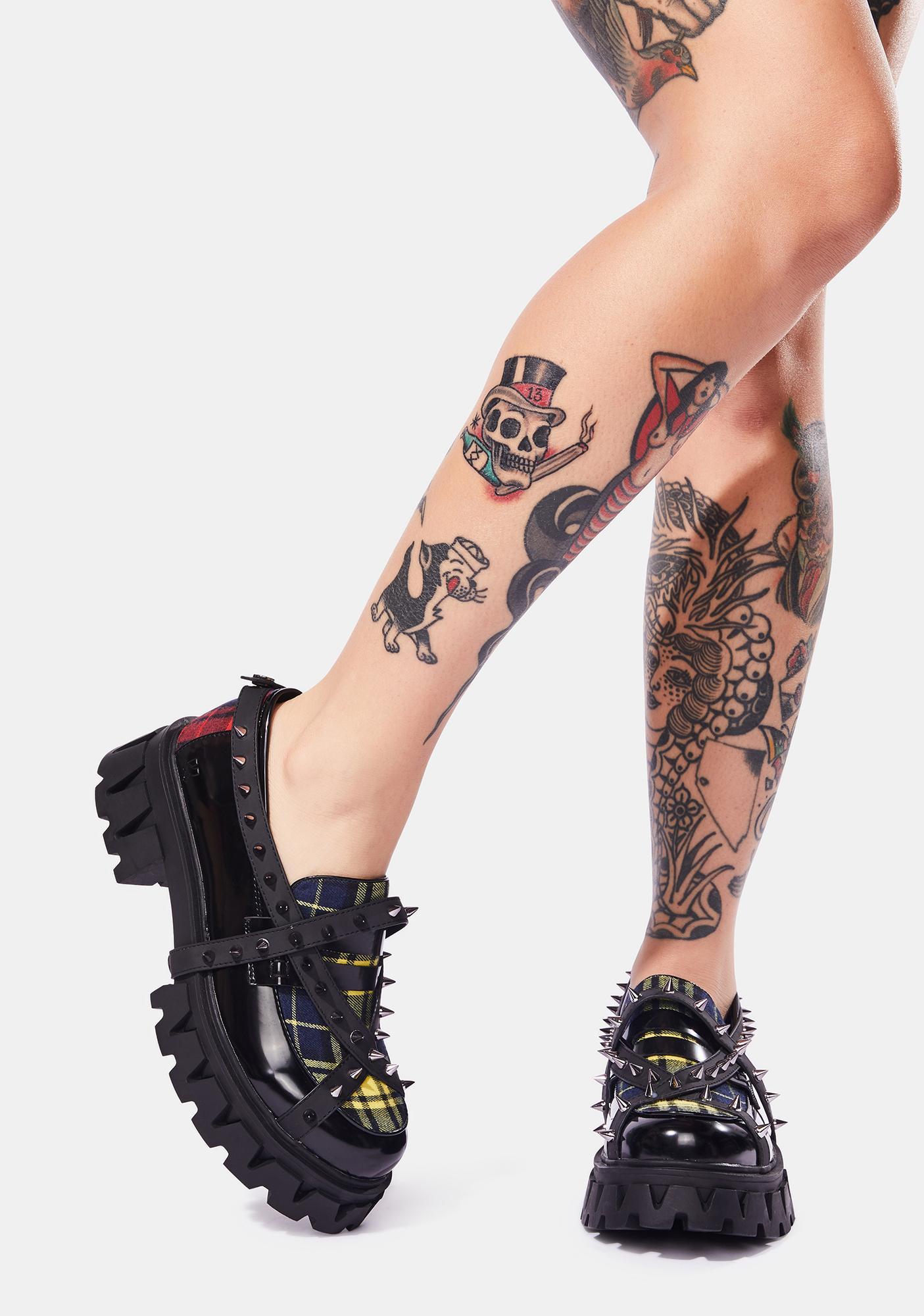 Koi Footwear Plaid Oscillator Spiked Oxfords