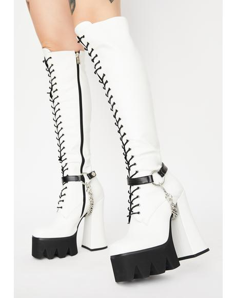 White Deceiving Ways Knee High Boots