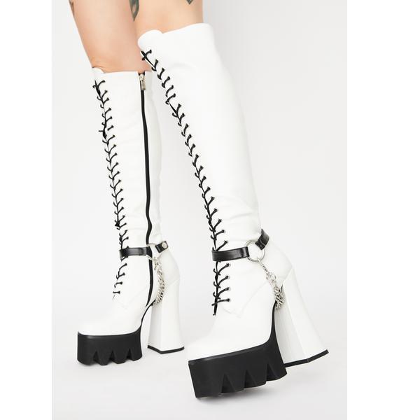 Lamoda White Deceiving Ways Knee High Boots