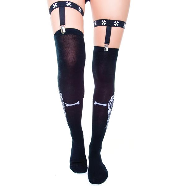 Too Fast Bone Gun Garter Socks
