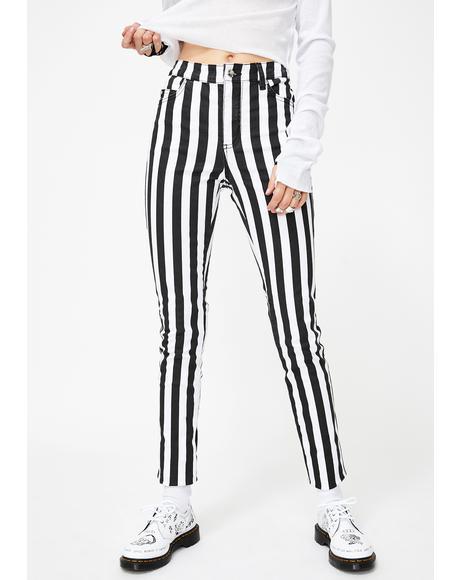 Wide Stripe T-Back Skinny Jeans