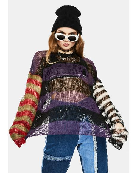 Dork Sheer Knit Striped Sweater