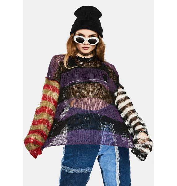The Ragged Priest Dork Sheer Knit Striped Sweater