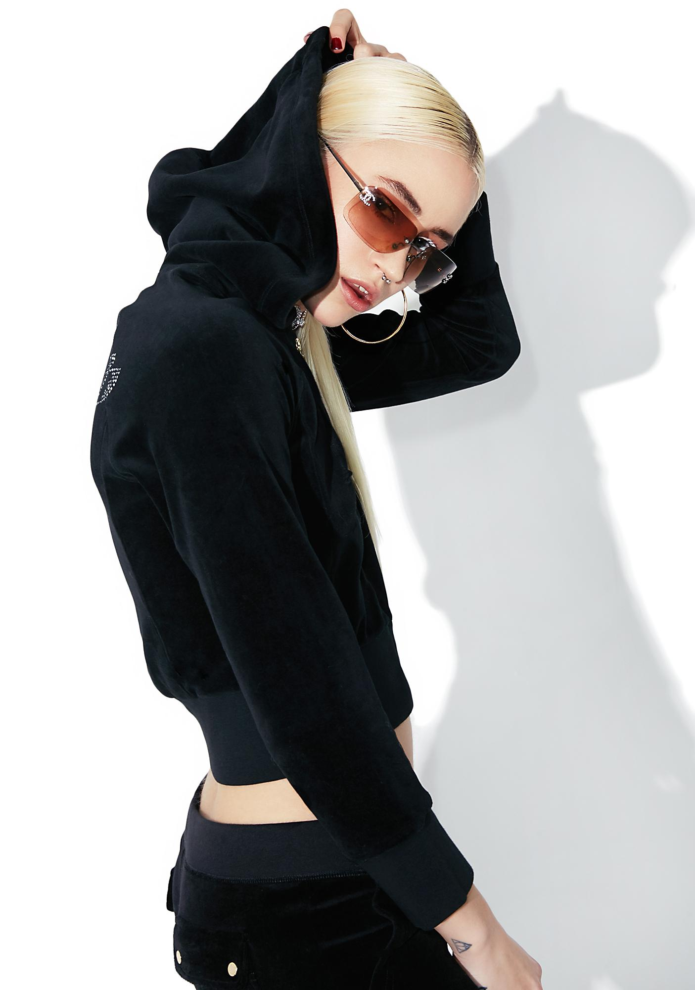 JUICY COUTURE Cropped Velour Gothic Logo Jacket