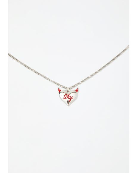 Shy Devil Heart Necklace