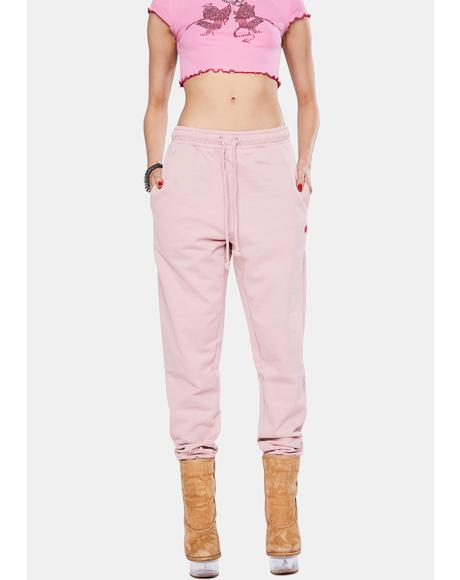 Dusty Pink Basic Sweatpants