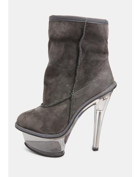 Kickdrum Suede Clear Platform Boots