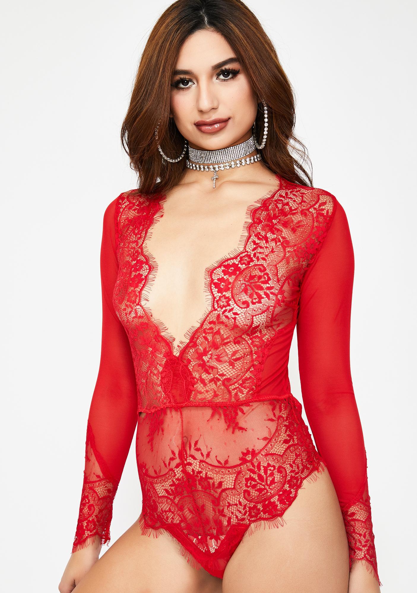 f12d9e7d19f Long Sleeve Sheer Lace Bodysuit