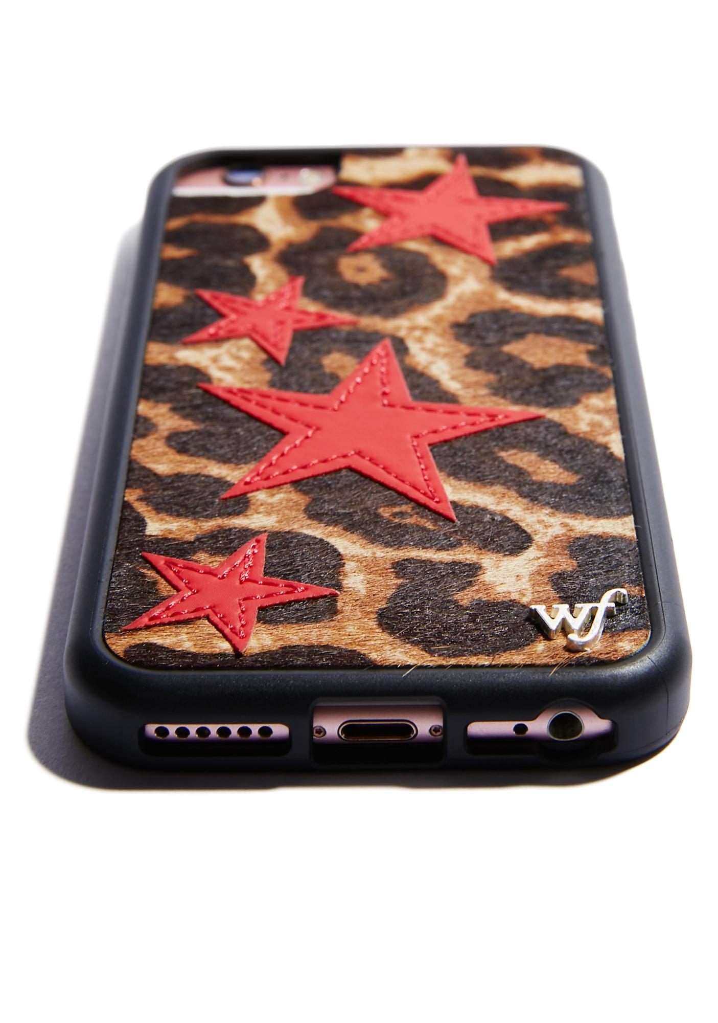 Wildflower Leopard Red Stars iPhone Case
