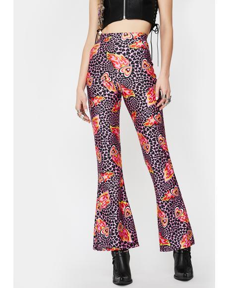 Flaming Hearts Flared Pants