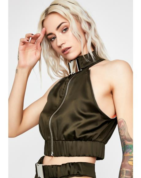 Olive Put It In Sport Satin Bomber
