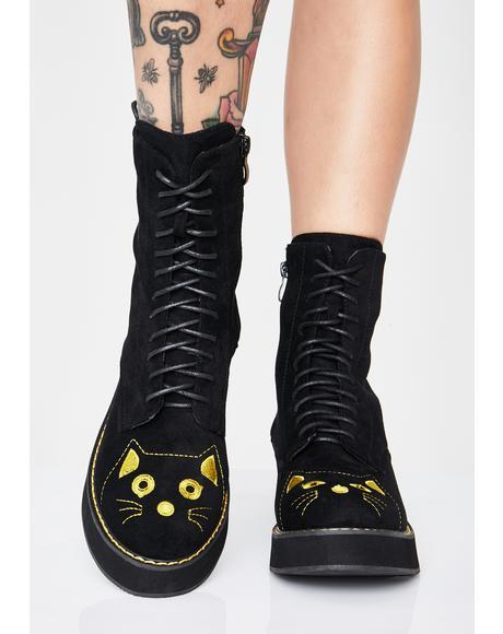 Felix Cat Face Ankle Boots