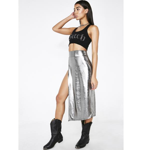 Poster Grl Gunmetal Currency Couture Midi Skirt