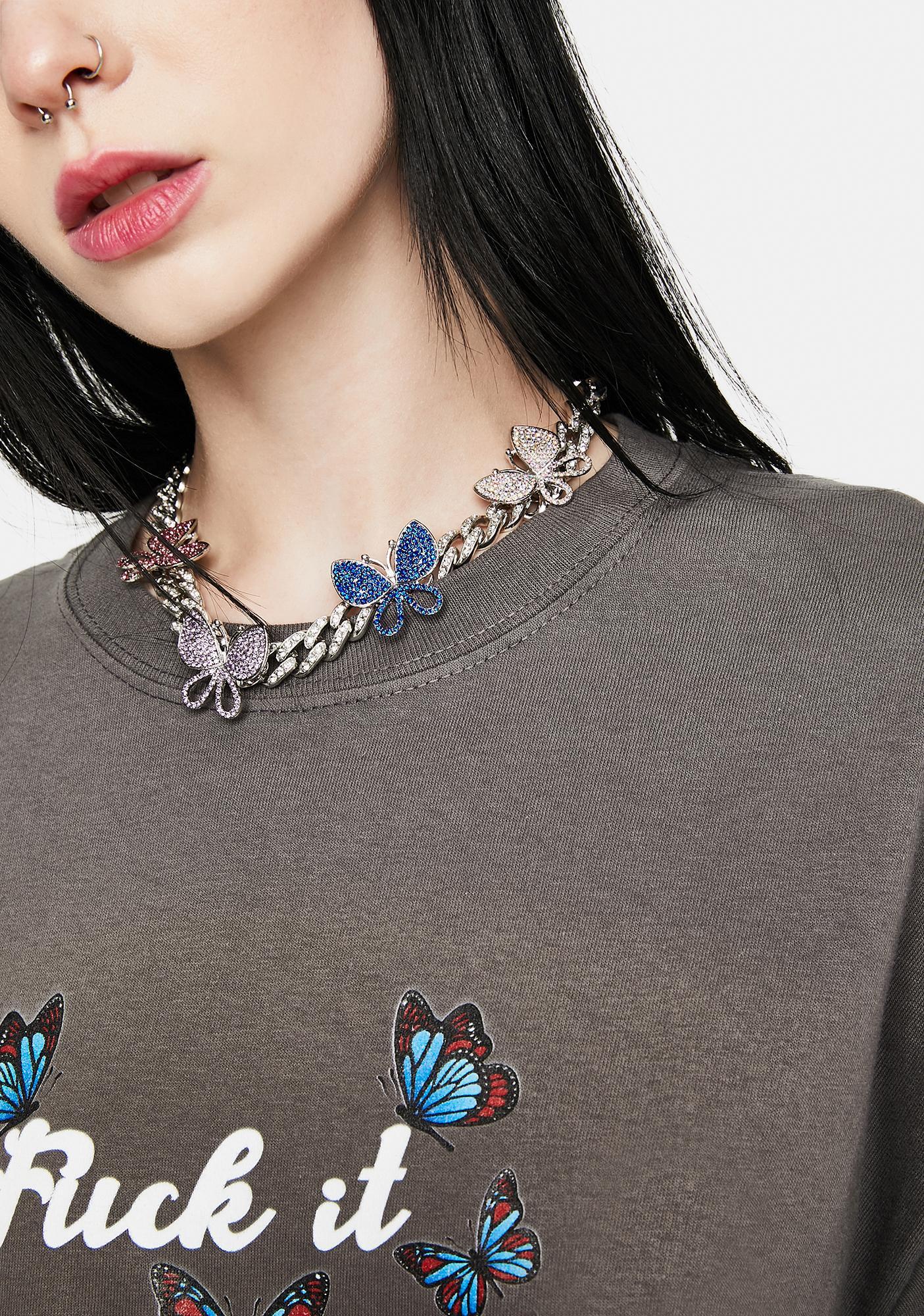 Whisper Of Wings Rhinestone Butterfly Chain Choker