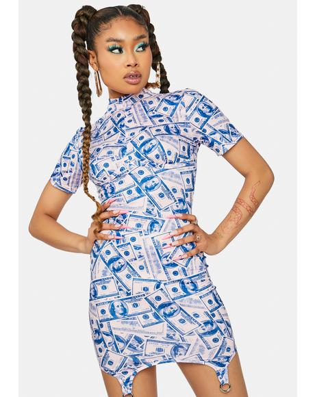 Sweet Big Spender Money Print Mini Dress