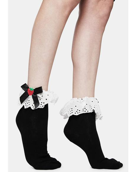 Sweet Shortcake Strawberry Ruffle Ankle Socks