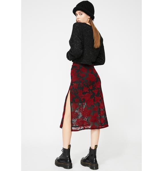 Motel Romantic Rose Flock Saika Skirt