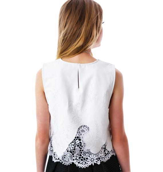 Acacia Lace Veggie Leather Top