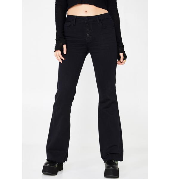 Hidden Denim Button Down Flare Denim Jeans